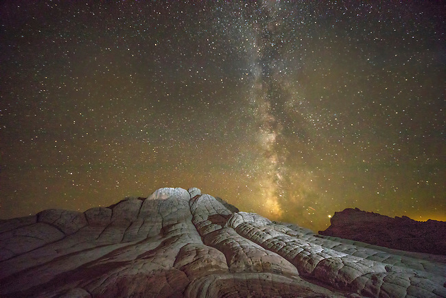 The Milky Way appears over White Pocket at Vermilion Cliffs National Monument, Arizona