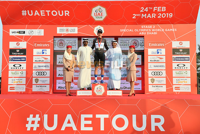 Stepan Kuriyanov (RUS) Gazprom–Rusvelo takes over the sprints Black Jersey at the end of Stage 2 of the 2019 UAE Tour, running 184km form Yas Island Yas Mall to Abu Dhabi Breakwater Big Flag, Abu Dhabi, United Arab Emirates. 25th February 2019.<br /> Picture: LaPresse/Massimo Paolone | Cyclefile<br /> <br /> <br /> All photos usage must carry mandatory copyright credit (© Cyclefile | LaPresse/Massimo Paolone)