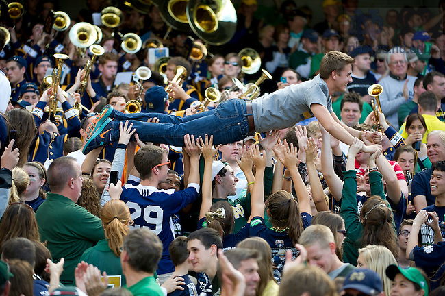 Sept. 1, 2012; Notre Dame students celebrate after a touchdown during first quarter against Navy of the 2012 Emerald Isle Classic at Aviva Stadium in Dublin, Ireland. Photo by Barbara Johnston/University of Notre Dame