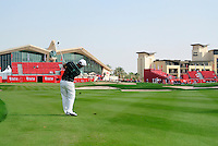 Damien McGrane (IRL) plays his 3rd shot on the 18th hole during Thursday's Round 1 of the HSBC Golf Championship at the Abu Dhabi Golf Club, United Arab Emirates, 26th January 2012 (Photo Eoin Clarke/www.golffile.ie)