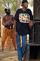Aurukun Dancer and Spectator,  Laura Aboriginal Dance Festival, Laura, Cape York Peninsula, Queensland, Australia.