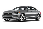 Stock pictures of low aggressive front three quarter view of a 2018 Volvo S90 T6 Inscription 4 Door Sedan