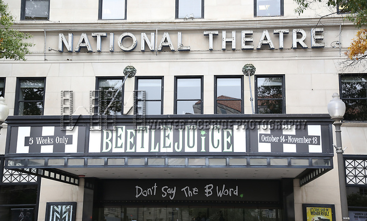 Theatre Marquee for 'Beetlejuice' at the National Theatre on November 4, 2018 in Washington,D.C.
