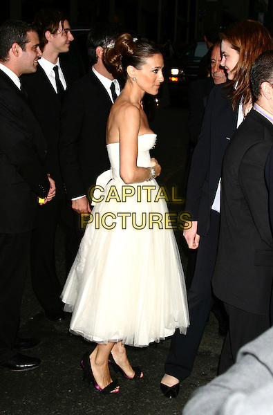 SARAH JESSICA PARKER.58th Annual Tony Awards - Arrivals.Radio City Music Hall, New York City, New York .June 6, 2004 .full length, full-length, strapless white chiffon dress, profile.www.capitalpictures.com.sales@capitalpictures.com.©Capital Pictures