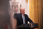 United States President Donald J. Trump participates in a news conference with the President of the Republic of Poland Andrzej Duda at The White House in Washington, DC, September 18, 2018. Credit: Chris Kleponis / CNP