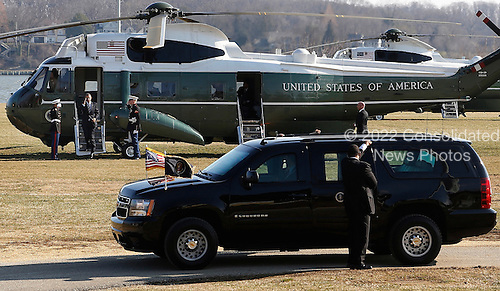United States President Barack Obama arrives via Marine One helicopter at a landing zone at the U.S. Naval Academy in Annapolis, Maryland on Wednesday, February 6, 2013. Obama will attend the Senate Democratic Issues Conference at a nearby hotel.  .Credit: Jonathan Ernst / Pool via CNP