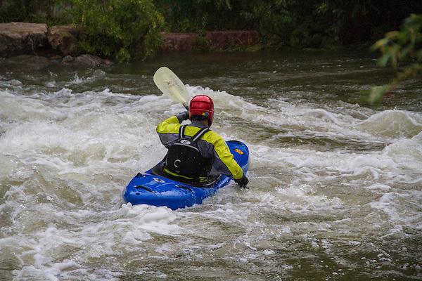 Kayaker in Clear Creek, Golden, Colorado,