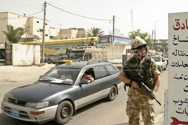 British Soldiers form a temporary check point as part of a security operation in Basrah City.