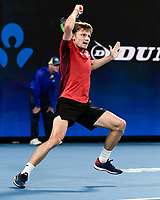 10th January 2020; Sydney Olympic Park Tennis Centre, Sydney, New South Wales, Australia; ATP Cup Australia, Sydney, Day 8; Belgium versus Spain;David Goffin of Belgium versus Rafael Nadal of Spain; David Goffin of Belgium follows through on a forehand to Rafael Nadal of Spain - Editorial Use