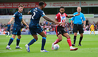 Lincoln City's Bruno Andrade vies for possession with Bristol Rovers' Mark Little<br /> <br /> Photographer Chris Vaughan/CameraSport<br /> <br /> The EFL Sky Bet League One - Lincoln City v Bristol Rovers - Saturday 14th September 2019 - Sincil Bank - Lincoln<br /> <br /> World Copyright © 2019 CameraSport. All rights reserved. 43 Linden Ave. Countesthorpe. Leicester. England. LE8 5PG - Tel: +44 (0) 116 277 4147 - admin@camerasport.com - www.camerasport.com