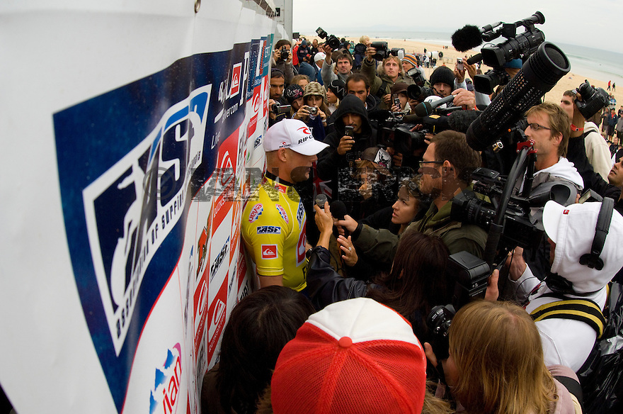 Mick Fanning getting interviewed after his win.