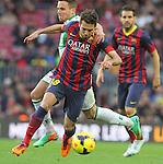 05.01.2014 Barcelona, Spain. La Liga day 18. Picture show Jordi ALba in action during game between FC Barcelona against Elche at Camp Nou