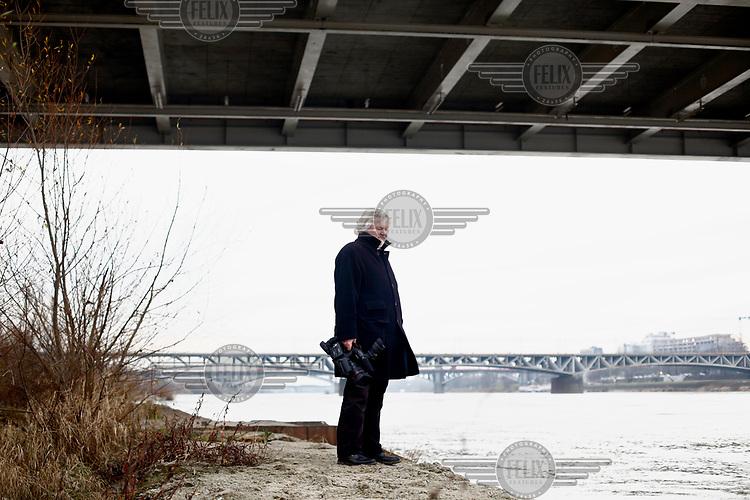 Film producer Krzysztof Kopczynski beside the Vistula River.