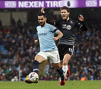 Manchester City's Ilkay Gundogan under pressure from Burnley's Jeff Hendrick<br /> <br /> Photographer Rich Linley/CameraSport<br /> <br /> Emirates FA Cup Fourth Round - Manchester City v Burnley - Saturday 26th January 2019 - The Etihad - Manchester<br />  <br /> World Copyright © 2019 CameraSport. All rights reserved. 43 Linden Ave. Countesthorpe. Leicester. England. LE8 5PG - Tel: +44 (0) 116 277 4147 - admin@camerasport.com - www.camerasport.com