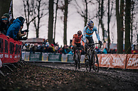 defending World Champion Wout Van Aert (BEL/Crelan-Charles) ahead of his main contender Mathieu van der Poel (NED/Corendon-Circus)<br /> <br /> Elite Men's Race<br /> 2018 CX World Championships<br /> Valkenburg - The Netherlands