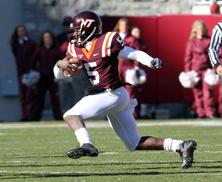 Nov 27, 2010; Charlottesville, VA, USA;  Virginia Tech Hokies quarterback Tyrod Taylor (5) during the game against the Virginia Cavaliers at Lane Stadium. Virginia Tech won 37-7. Mandatory Credit: Andrew Shurtleff