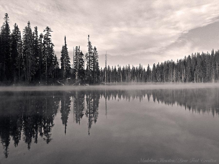Horseshoe Lake at sunrise. Gifford Pinchot National Forest, Washington State, USA