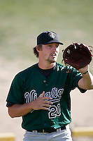 April 9  2007: Dallas Buck of the Visalia Oaks before game against the High Desert Mavericks at Mavericks Stadium in Adelanto,CA.  Photo by Larry Goren/Four Seam Images