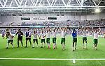 Stockholm 2014-05-24 Fotboll Superettan Hammarby IF - Varbergs BoIS FC  :  <br /> Hammarbys spelare jublar med publiken efter matchen<br /> (Foto: Kenta J&ouml;nsson) Nyckelord:  Superettan Tele2 Arena HIF Bajen Varberg BoIS jubel gl&auml;dje lycka glad happy