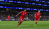 Serge Gnabry of Bayern Munich celebrates scoring a goal during the UEFA Champions League group match between Tottenham Hotspur and Bayern Munich at Wembley Stadium, London, England on 1 October 2019. Photo by Andy Rowland.