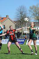 KORFBAL: REDUZUM: Sportpark Reduzum, 28-04-2013, Veld Hoofdklasse A, KV Mid Fryslân-LDODK AH Gorredijk, Eindstand 13-19, Sjieuwke v.d. Veen (#2 | MF), Jildou Slagmann (#4 | LDODK), ©foto Martin de Jong