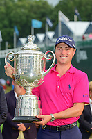 Justin Thomas (USA) and the trophy for winning the PGA Championship at the Quail Hollow Club in Charlotte, North Carolina. 8/13/2017.<br /> Picture: Golffile | Ken Murray<br /> <br /> <br /> All photo usage must carry mandatory copyright credit (&copy; Golffile | Ken Murray)