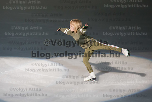 Alexander Plushenko son of Olypmic and European champion figure skater Evgeny Plushenko (not in picutre) of Russia performs during the Kings on Ice skating show in Budapest, Hungary on April 29, 2018. ATTILA VOLGYI