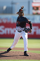 San Jose Giants starting pitcher Melvin Adon (47) delivers a pitch to the plate during a California League game against the Lancaster JetHawks at San Jose Municipal Stadium on May 12, 2018 in San Jose, California. Lancaster defeated San Jose 7-6. (Zachary Lucy/Four Seam Images)