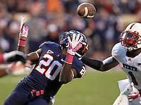 Oct. 22, 2011 - Charlottesville, Virginia - USA; Virginia Cavaliers wide receiver Tim Smith (20) bobbles the ball eventually intercepted by North Carolina State cornerback David Amerson (1) during an NCAA football game at the Scott Stadium. NC State defeated Virginia 28-14. (Credit Image: © Andrew Shurtleff