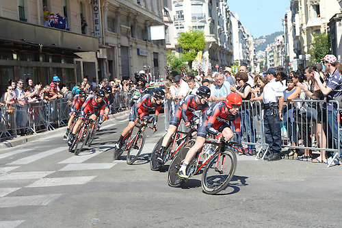 02.07.2013 Nice, France. Tour de France, Team Time Trial on stage 4 of the Tour De France from Nice. Bmc 2013, Evans Cadel, Nice
