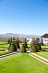 The Wine Route in early spring in Beaujolais, France. Chateau Pizay a four star hotel and spa, located in Saint Jean d'Ardieres.  The hotel features a topiary garden and a walking tour of the surrounding vineyards.