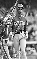 Darryl Strawberry of the New York Mets during a 1989 season game at Dodger  Stadium in Los Angeles,California.(Larry Goren/Four Seam Images)