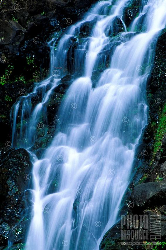 A tranquil Hawaiian waterfall.