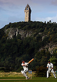 Scottish National Cricket League play-off match - Kelburne CC V Perth Strathearn CC at New Williamfield, Stirling - Kelburne batsman Ross McLellan hits out in the shadow of the Wallace Monument - Strathearn keeper (and capt) is Paul Tramontranas - Picture by Donald MacLeod 12.9.10 - mobile 07702 319 738 - clanmacleod@btinternet.com