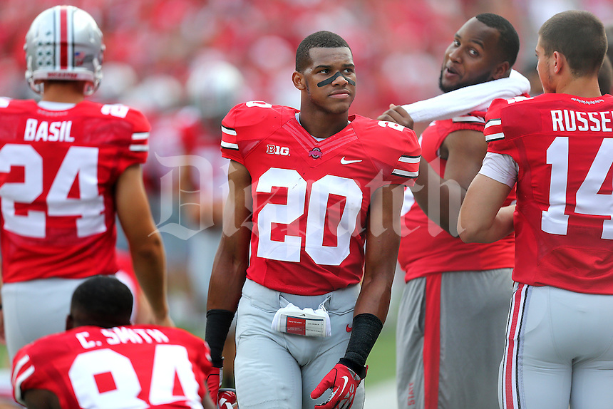Ohio State Buckeyes defensive back Ron Tanner (20) on the sidelines during a football game between the Ohio State Buckeyes and the San Diego State Aztecs on Sept. 7, 2013 at Ohio Stadium. (Columbus Dispatch photo by Fred Squillante)