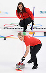 Vicki Adams (GBR) and Eve Muirhead (GBR, skip). Womens Curling training. Pyeongchang2018 winter Olympics Gangneung curling centre. Gangneung. Republic of Korea. 12/02/2018. ~ MANDATORY CREDIT Garry Bowden/SIPPA - NO UNAUTHORISED USE - +44 7837 394578
