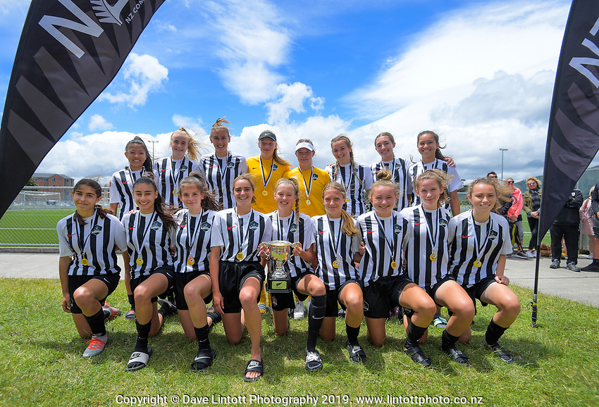 Northern under-16 girls tournament champions. 2019 National Age Group Tournament football awards ceremony at Memorial Park in Petone, Wellington, New Zealand on Sunday, 15 December 2019. Photo: Dave Lintott / lintottphoto.co.nz