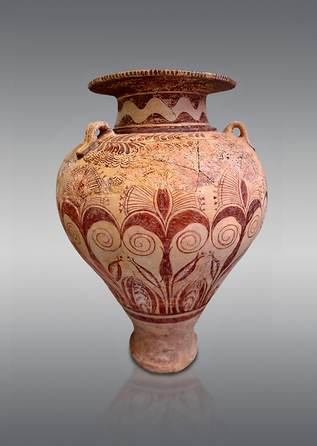 "Minoan ""Palace Style"" clay decorated jars from the  Knossos-Isopata ""Royal Tomb"" 1600-1500 BC BC, Heraklion Archaeological  Museum, grey background."