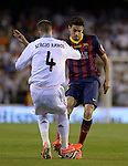 Sergio Ramos vies with Marc Bartra during the Spanish King's Cup Final football match Real Madrid Madrid CF vs FC Barcelona  at the Mestalla stadium in Valencia on April 16, 2014  PHOTOCALL3000 / DP