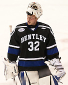 Jayson Argue (Bentley - 32) - The visiting Bentley University Falcons defeated the Northeastern University Huskies 3-2 on Friday, October 16, 2015, at Matthews Arena in Boston, Massachusetts.