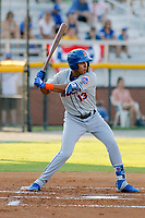 Kingsport Mets infielder Mark Vientos (13) at bat during a game against the Burlington Royals at Burlington Athletic Complex on July 28, 2018 in Burlington, North Carolina. Burlington defeated Kingsport 4-3. (Robert Gurganus/Four Seam Images)