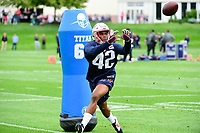 June 7, 2017: New England Patriots cornerback Kenny Moore (42) catches the ball at the New England Patriots mini camp held on the practice field at Gillette Stadium, in Foxborough, Massachusetts. Eric Canha/CSM