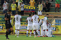 NEIVA - COLOMBIA, 19-08-2018: Jugadores de Once Caldas celebran después de anotar un gol a Atlético Huila durante partido por la fecha 5 de la Liga Águila II 2018 jugado en el estadio Guillermo Plazas Alcid de la ciudad de Neiva. / Players of Once Caldas celebrate after scoring a goal to Atletico Huila during match for the date 5 of the Aguila League II 2018 played at Guillermo Plazas Alcid in Neiva city. VizzorImage / Sergio Reyes / Cont