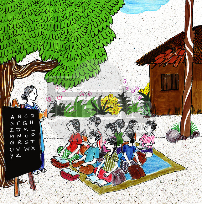 Scene of a rural school