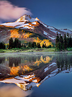 Mt. Jefferson with reflection in Russell Lake. Mt. Jefferson Wilderness, Oregon