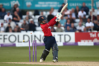 Adam Wheater of Essex is bowled out by Steven Patterson during Essex Eagles vs Yorkshire Vikings, Royal London One-Day Cup Play-Off Cricket at The Cloudfm County Ground on 14th June 2018