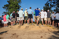 PINEHURST, NC - JUNE 15: Spectators getting a look at the 14th tee. Scenes from the U.S. Open Championship at Pinehurst, North Carolina on Sunday, June 15, 2014. (Photo by Landon Nordeman)