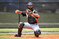 Miami Marlins catcher Brian Dice #78 during an extended Spring Training game against the New York Mets at the Roger Deam Complex on May 1, 2012 in Jupiter, Florida.  (Mike Janes/Four Seam Images)