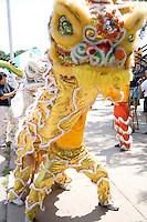 Asian dancers perform dragon ceremony. Dragon Festival Lake Phalen Park St Paul Minnesota USA