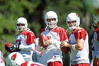 Jul 30, 2008; Flagstaff, AZ, USA; Arizona Cardinals quarterback (7) Matt Leinart (center) during training camp on the campus of Northern Arizona University. Mandatory Credit: Mark J. Rebilas-